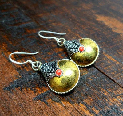 Simple Tibetan Copper Earrings -- Culture Cross