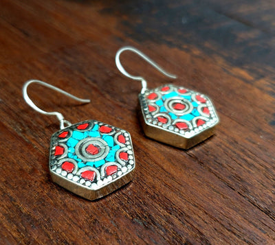 Simple Tibetan Tile Earrings -- Culture Cross