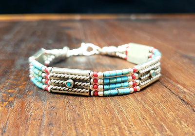 Simple Tibetan Turquoise Bracelet -- Culture Cross