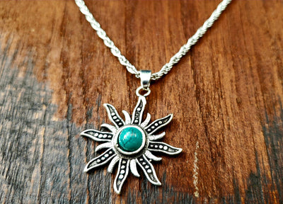 Simple Turquoise Sun Necklace -- Culture Cross