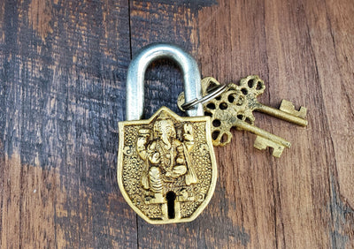 Small Golden Ganesh Temple Lock -- Culture Cross