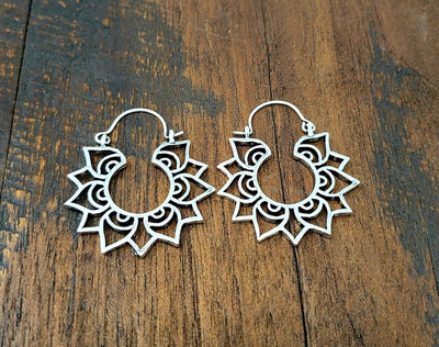 Small Lotus Hoop Earrings -- Culture Cross