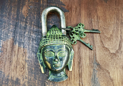 Tarnished Buddha Temple Lock -- Culture Cross