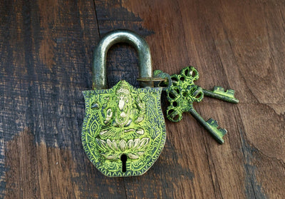 Tarnished Ganesh Temple Lock -- Culture Cross