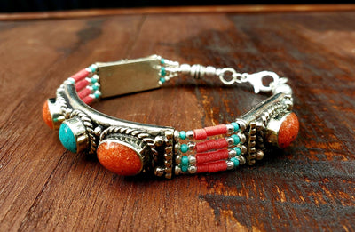 Tibetan Coral Beaded Bracelet -- Culture Cross