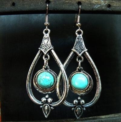 Tibetan Turquoise Earrings -- Culture Cross