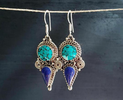 Tibetan Turquoise Lapis Dagger Earrings -- Culture Cross