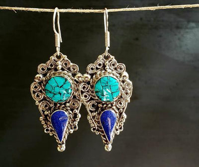 Tibetan Turquoise Lapis Earrings -- Culture Cross