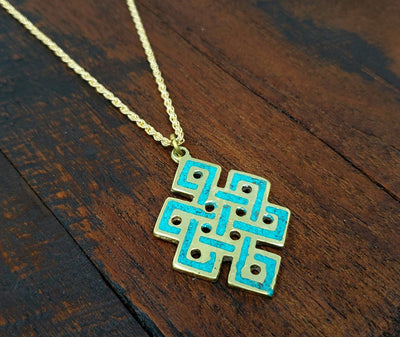Turquoise Endless Knot Necklace -- Culture Cross