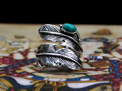 Turquoise Feather Ring -- Culture Cross