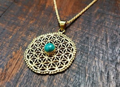 Turquoise Flower of Life Necklace -- Culture Cross