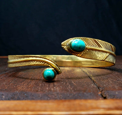 Turquoise Forest Feather Arm Cuff -- Culture Cross