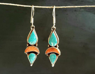 Turquoise Tibetan Earrings -- Culture Cross