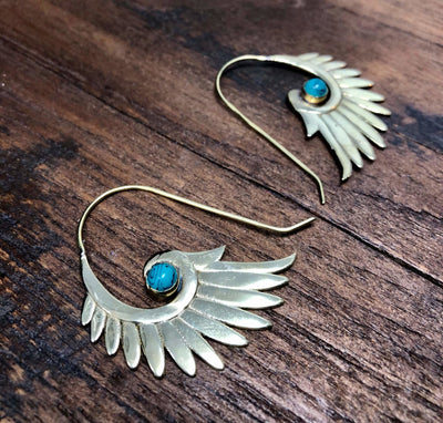Turquoise Wing Feather Earrings -- Culture Cross