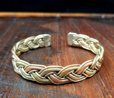 Woven Tibetan Copper Bracelet Wire Wrapped Men's Jewelry -- Culture Cross