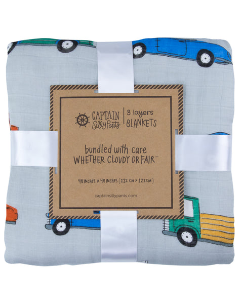 Beep Beep Bamboo Triple-Layer Blanket