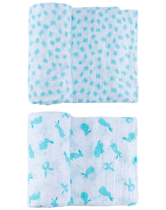 Light Blue Quick Like Bunnies Swaddle Set