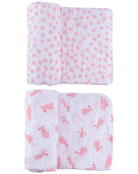 Pink Quick Like Bunnies Swaddle Set