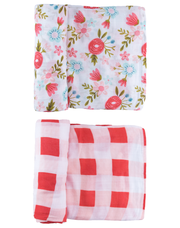 Red Floral Swaddle Set