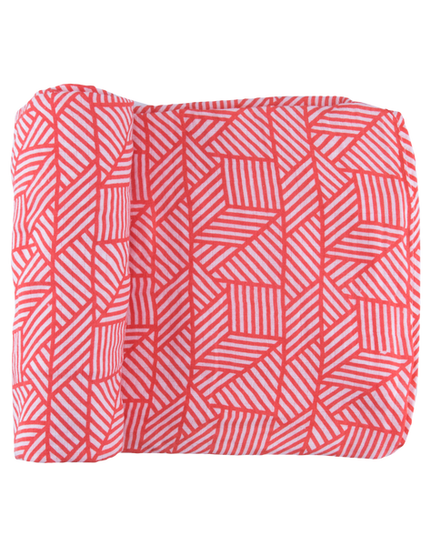 Coral Geometric Cascade Swaddle Set
