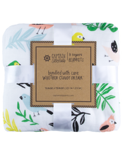 Load image into Gallery viewer, Tropical Bird Triple-Layer Bamboo Blanket