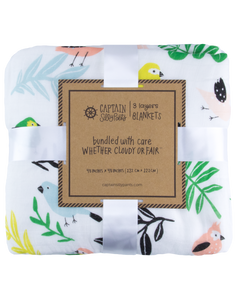 Tropical Bird Triple-Layer Bamboo Blanket