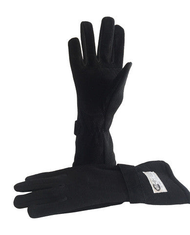 Black SFI 3.3 Race Gloves Fire Resistant NOMEX
