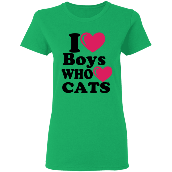I heart BOYS who heart CATS - Ladies T-Shirt - MeowOutlet.com