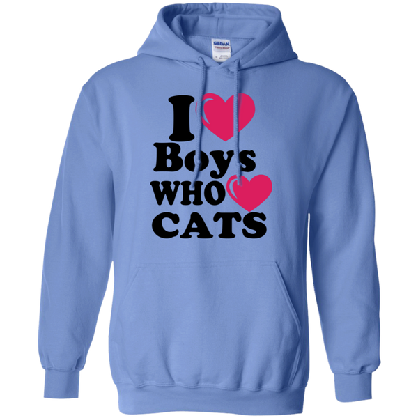 I Love Boys Who Love Cats Hoodie - MeowOutlet.com