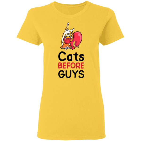 Cats before Guys - Ladies T-Shirt - MeowOutlet.com
