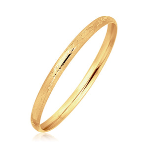 14k Yellow Gold Dome Style Children's Bangle with Diamond Cuts