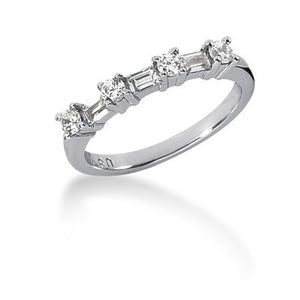 14k White Gold Seven Diamond Wedding Ring Band with Round and Baguette Diamonds