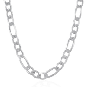 Rhodium Plated 8.8mm Sterling Silver Figaro Style Chain