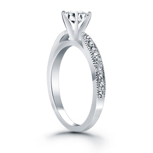 14k White Gold Diamond Pave Cathedral Engagement Ring