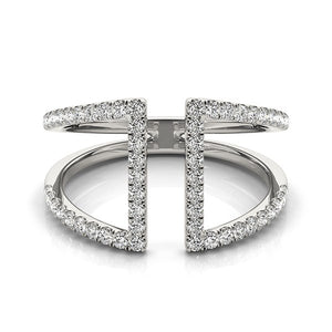 14k White Gold Open Style Dual Band Ring with Diamonds (1/2 cttw)