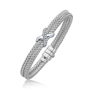 Diamond Accented X Station Weave Bangle in 14k White Gold (.17 cttw)
