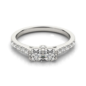 14k White Gold Round Two Stone Diamond Ring (3/4 cttw)