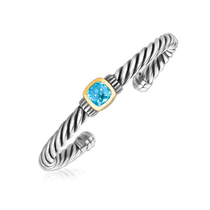 18k Yellow Gold and Sterling Silver Blue Topaz Open Cable Style Cuff Bangle