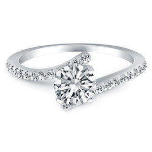 14k White Gold Open Shank Bypass Diamond Engagement Ring