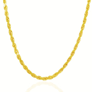 5.0mm 10k Yellow Gold Solid Diamond Cut Rope Chain