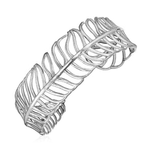 Open Leaf Motif Cuff Bangle in Sterling Silver