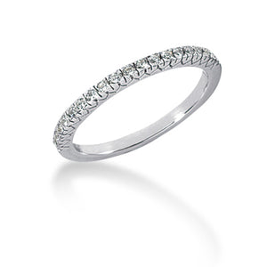 14k White Gold Engraved Fishtail V Pave Diamond Wedding Ring Band