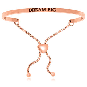 Pink Stainless Steel Dream Big Adjustable Bracelet