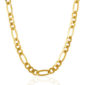 7.0mm 14k Yellow Gold Solid Figaro Chain