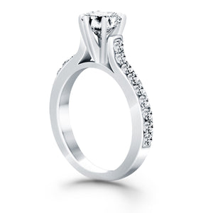 14k White Gold Curved Shank Engagement Ring with Pave Diamonds