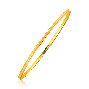 14k Yellow Gold Concave Motif Thin  Stackable Bangle