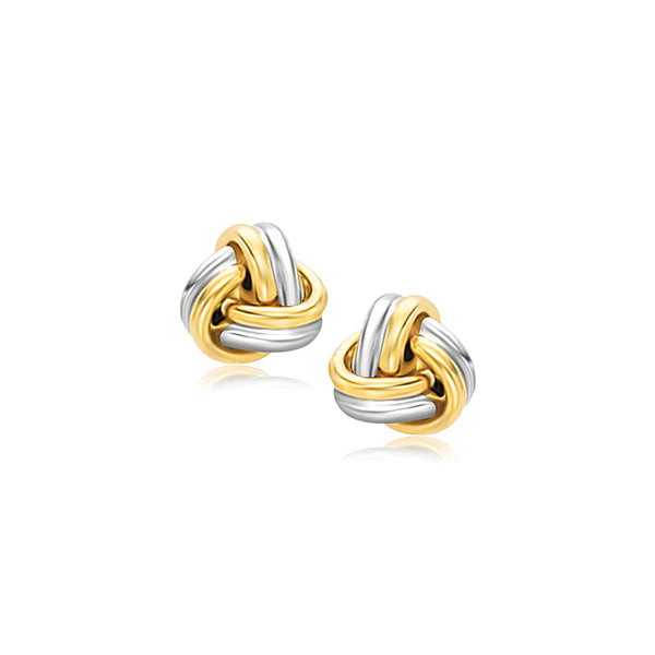 74412b7f5 14k Two-Tone Gold Polished Love Knot Stud Earrings
