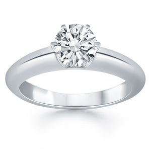 14k White Gold Solitaire Cathedral Engagement Ring
