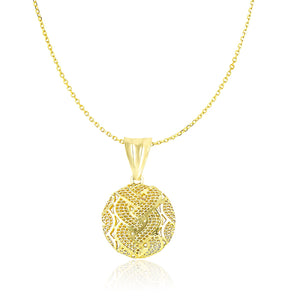 14k Yellow Gold Round Wavy and Scallop Mesh Design Pendant
