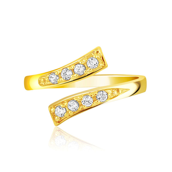 14k Yellow Gold Contemporary Cubic Zirconia Accented Toe Ring
